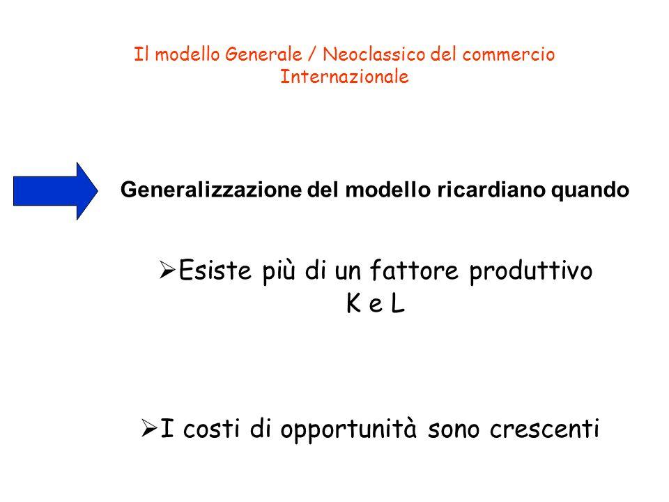 Esiste più di un fattore produttivo K e L