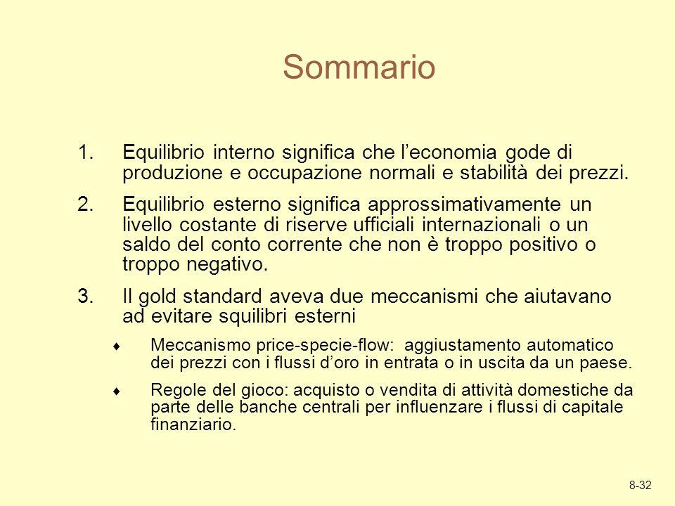 Sommario Equilibrio interno significa che l'economia gode di produzione e occupazione normali e stabilità dei prezzi.