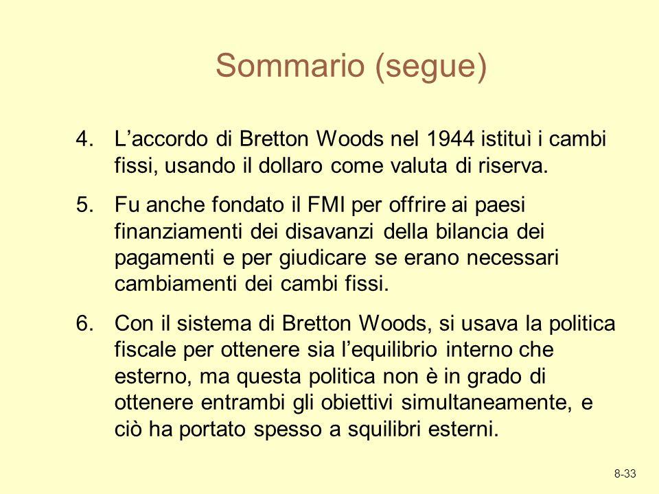 Sommario (segue) L'accordo di Bretton Woods nel 1944 istituì i cambi fissi, usando il dollaro come valuta di riserva.