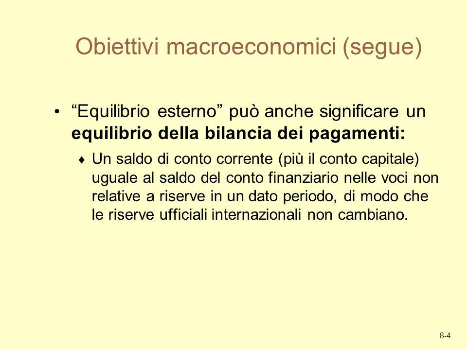 Obiettivi macroeconomici (segue)