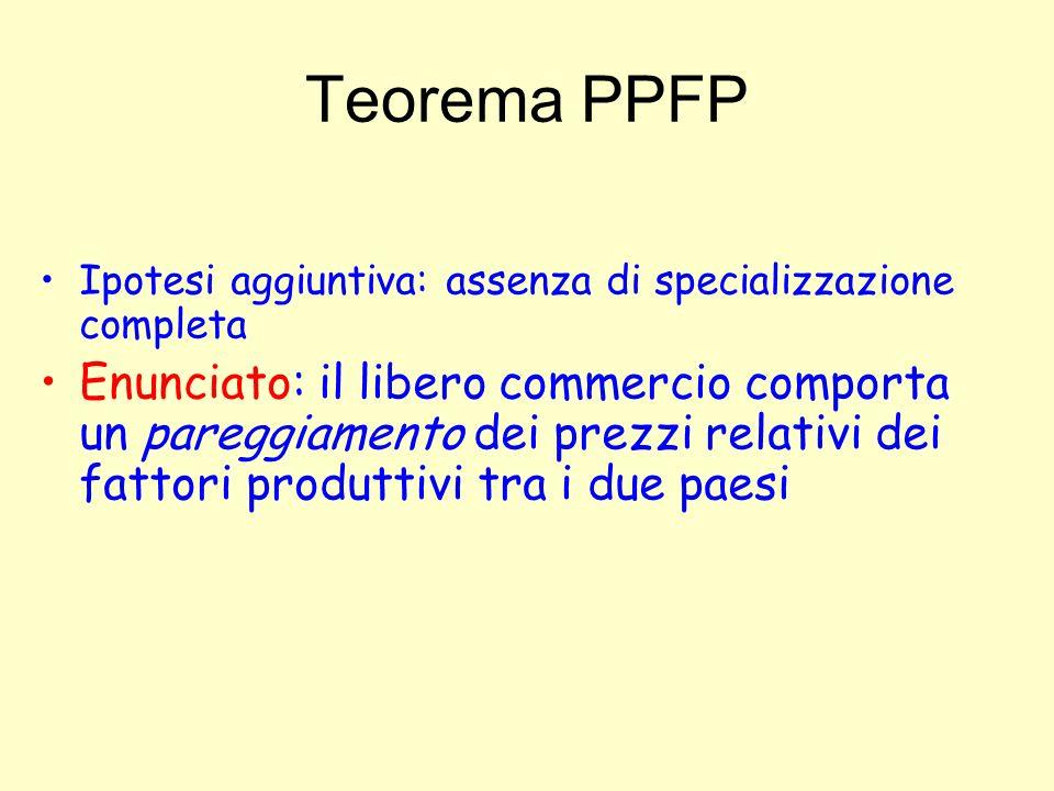 Teorema PPFP Ipotesi aggiuntiva: assenza di specializzazione completa.