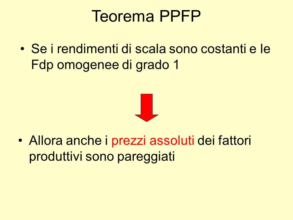 Teorema PPFP Se i rendimenti di scala sono costanti e le Fdp omogenee di grado 1.