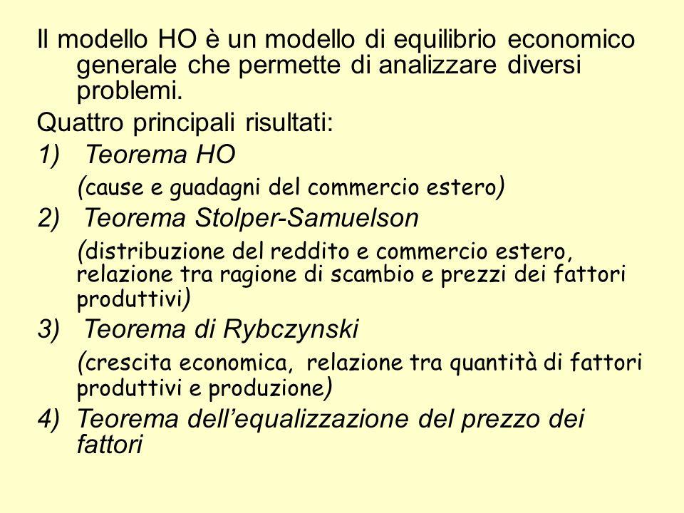 Il modello HO è un modello di equilibrio economico generale che permette di analizzare diversi problemi.