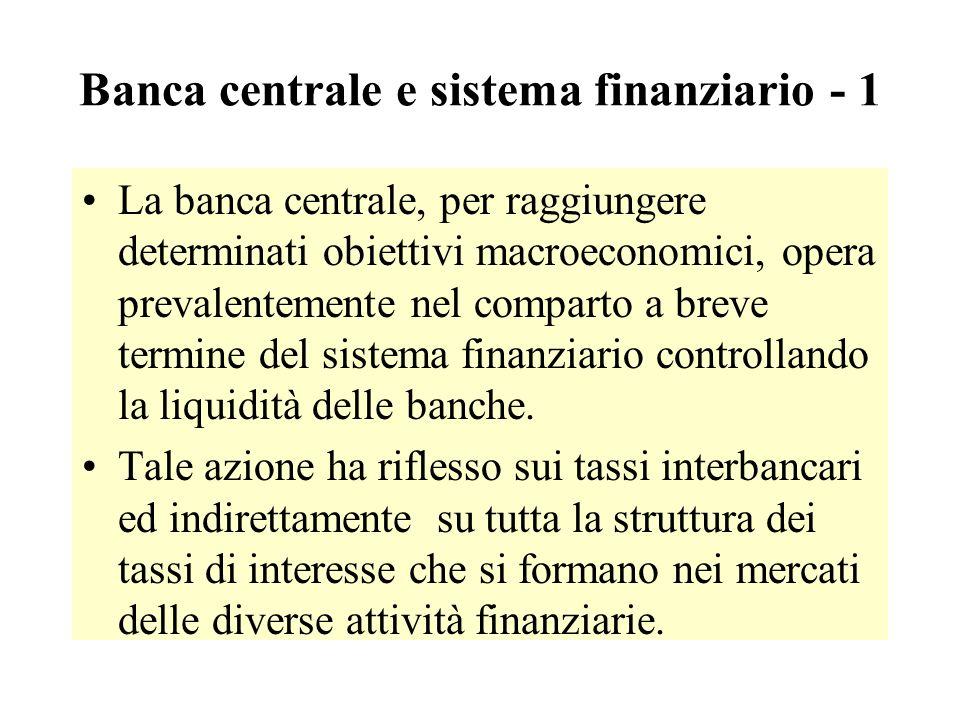 Banca centrale e sistema finanziario - 1