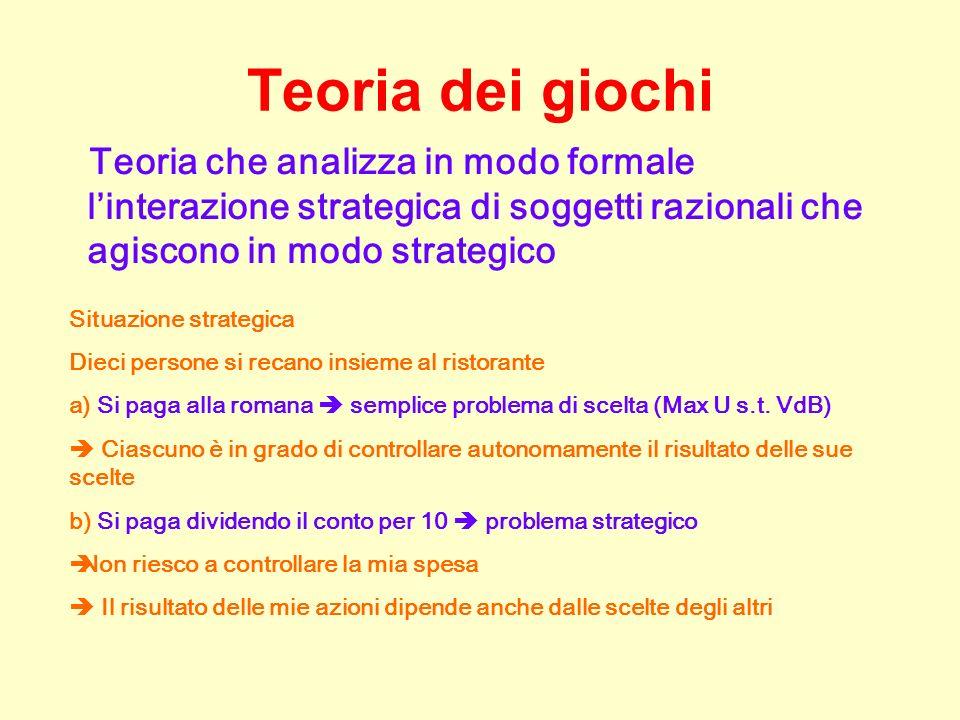Teoria dei giochi Teoria che analizza in modo formale l'interazione strategica di soggetti razionali che agiscono in modo strategico.