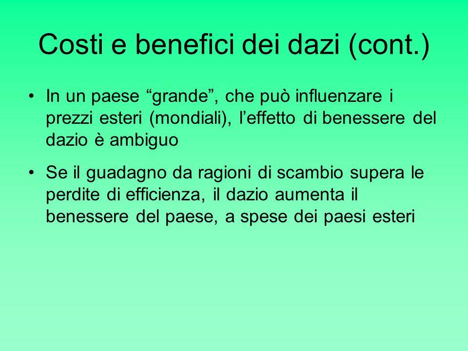 Costi e benefici dei dazi (cont.)