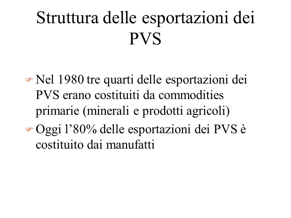 Struttura delle esportazioni dei PVS