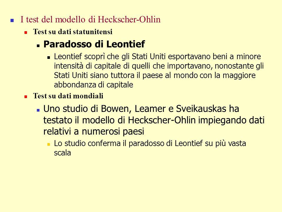 I test del modello di Heckscher-Ohlin Paradosso di Leontief