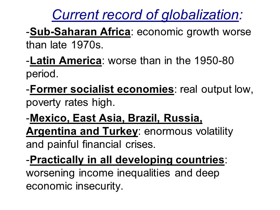 Current record of globalization: