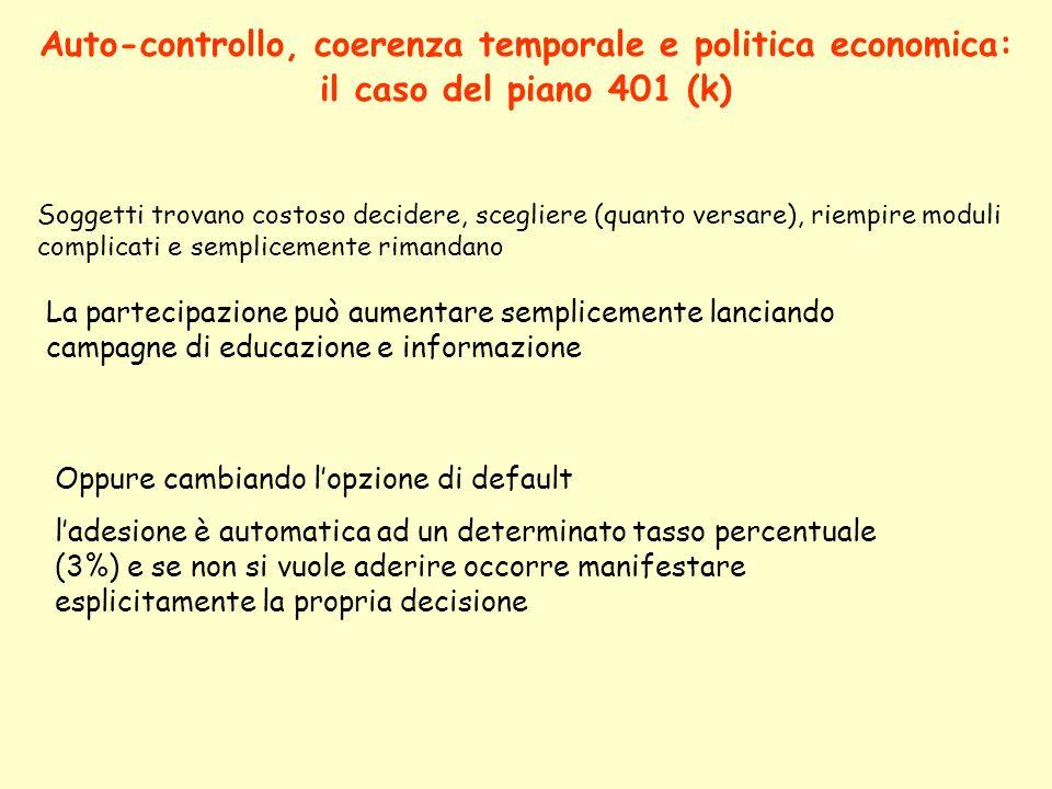 Auto-controllo, coerenza temporale e politica economica: