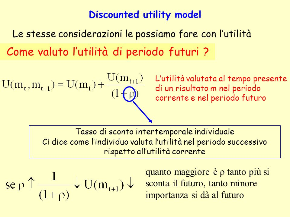 Discounted utility model