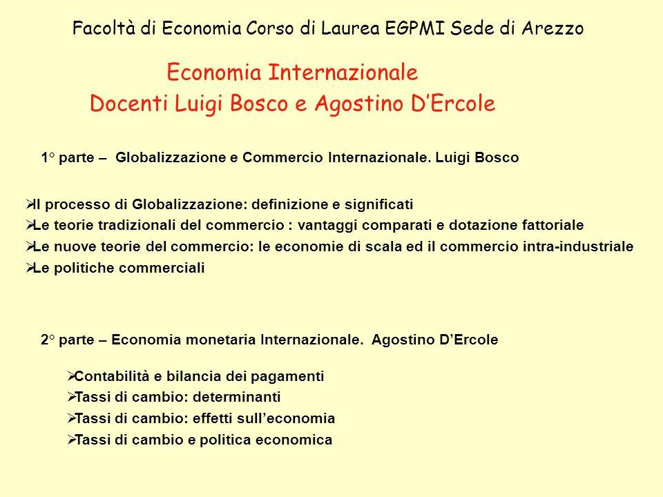 Economia Internazionale Docenti Luigi Bosco e Agostino D'Ercole