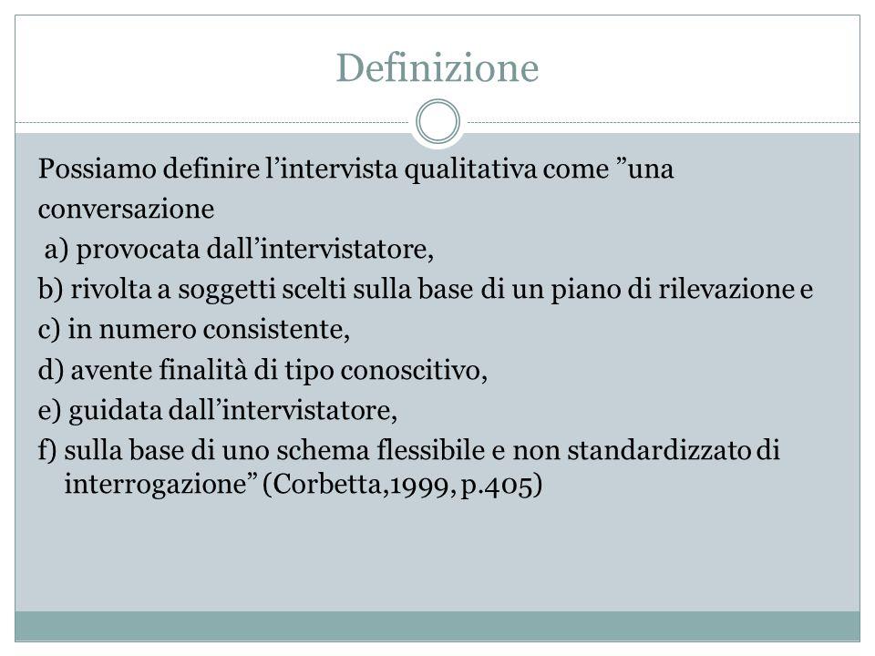 Definizione Possiamo definire l'intervista qualitativa come una
