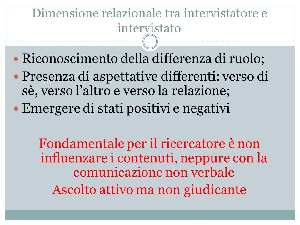 Dimensione relazionale tra intervistatore e intervistato
