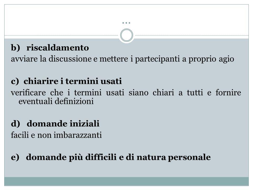 … b) riscaldamento. avviare la discussione e mettere i partecipanti a proprio agio. c) chiarire i termini usati.
