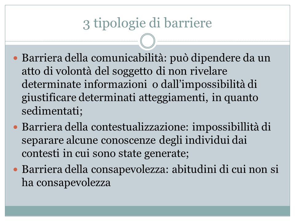 3 tipologie di barriere