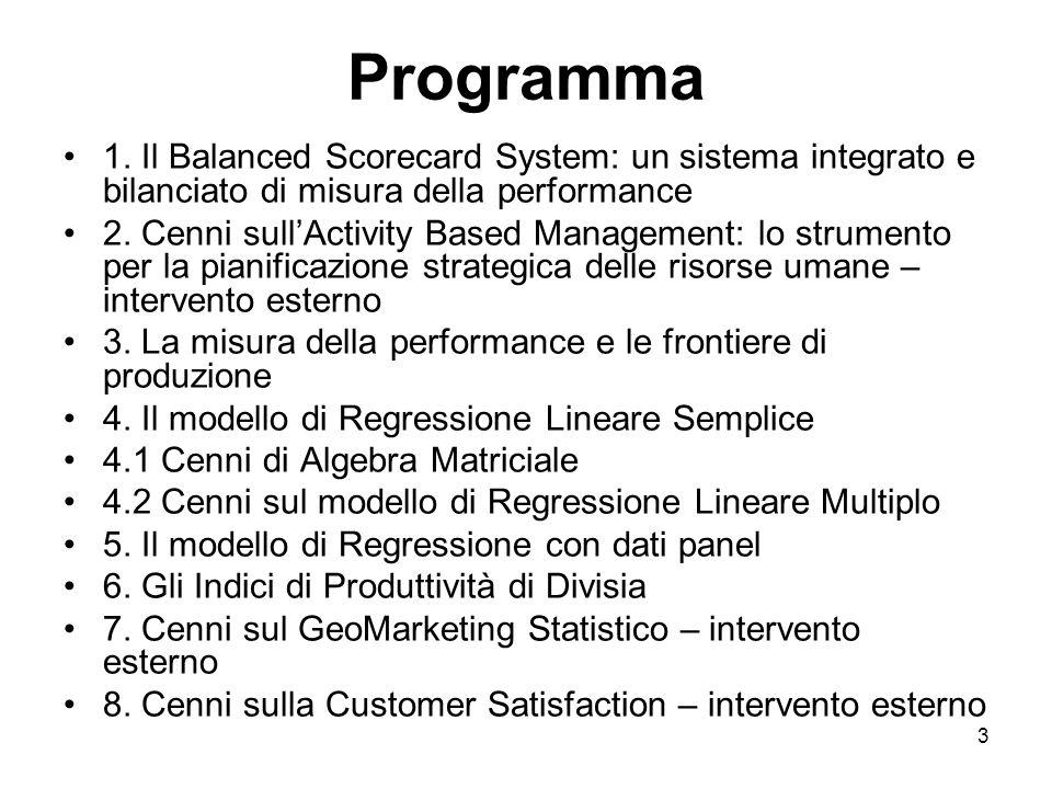 Programma 1. Il Balanced Scorecard System: un sistema integrato e bilanciato di misura della performance.