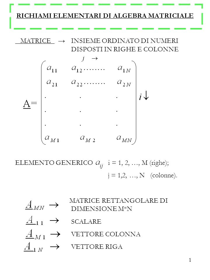 RICHIAMI ELEMENTARI DI ALGEBRA MATRICIALE