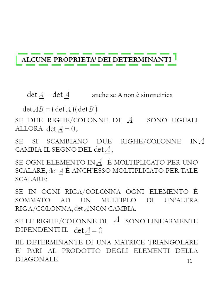 ALCUNE PROPRIETA' DEI DETERMINANTI