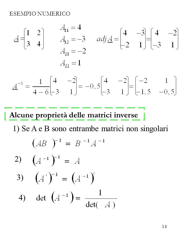 Alcune proprietà delle matrici inverse