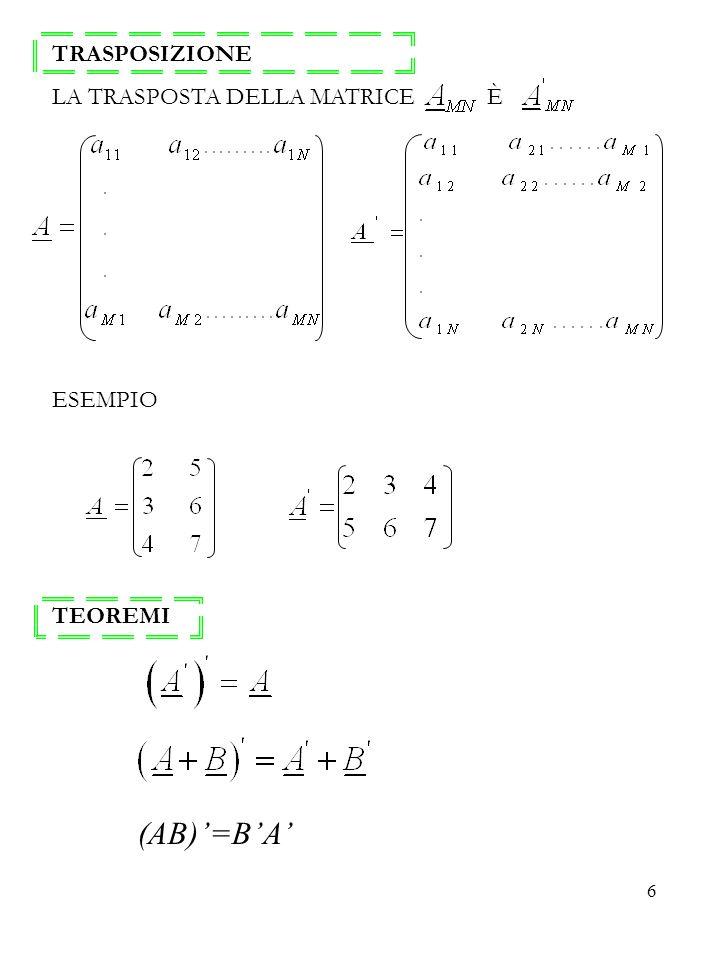 TRASPOSIZIONE LA TRASPOSTA DELLA MATRICE È ESEMPIO TEOREMI (AB)'=B'A'