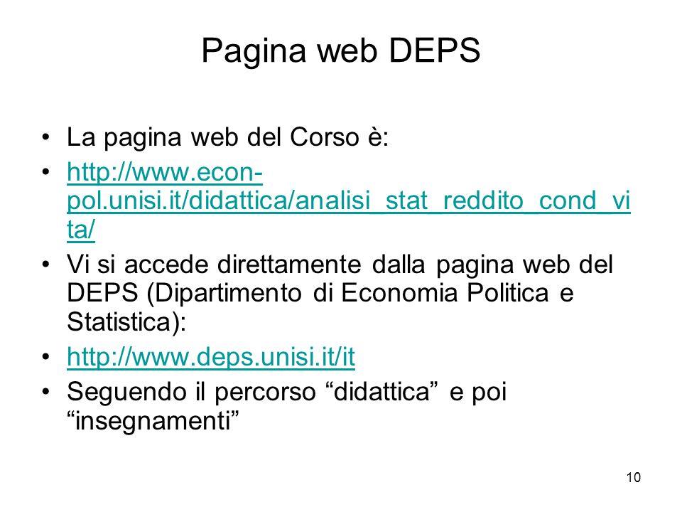 Pagina web DEPS La pagina web del Corso è: