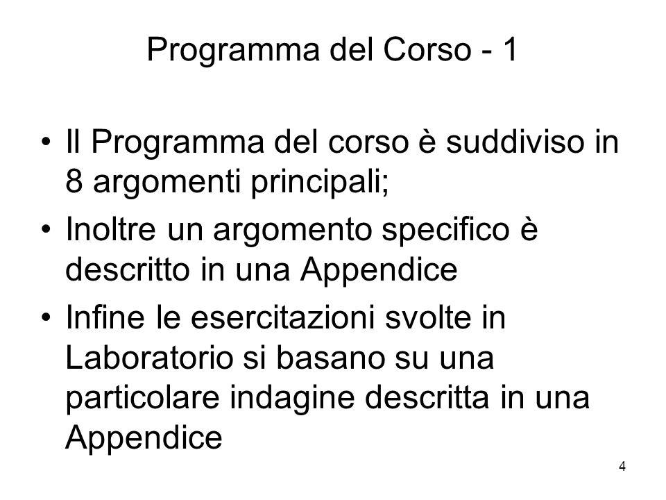 Programma del Corso - 1 Il Programma del corso è suddiviso in 8 argomenti principali; Inoltre un argomento specifico è descritto in una Appendice.