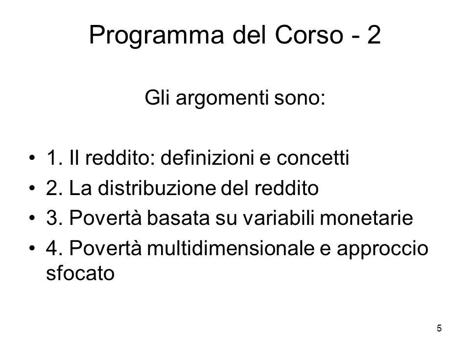 Programma del Corso - 2 Gli argomenti sono: