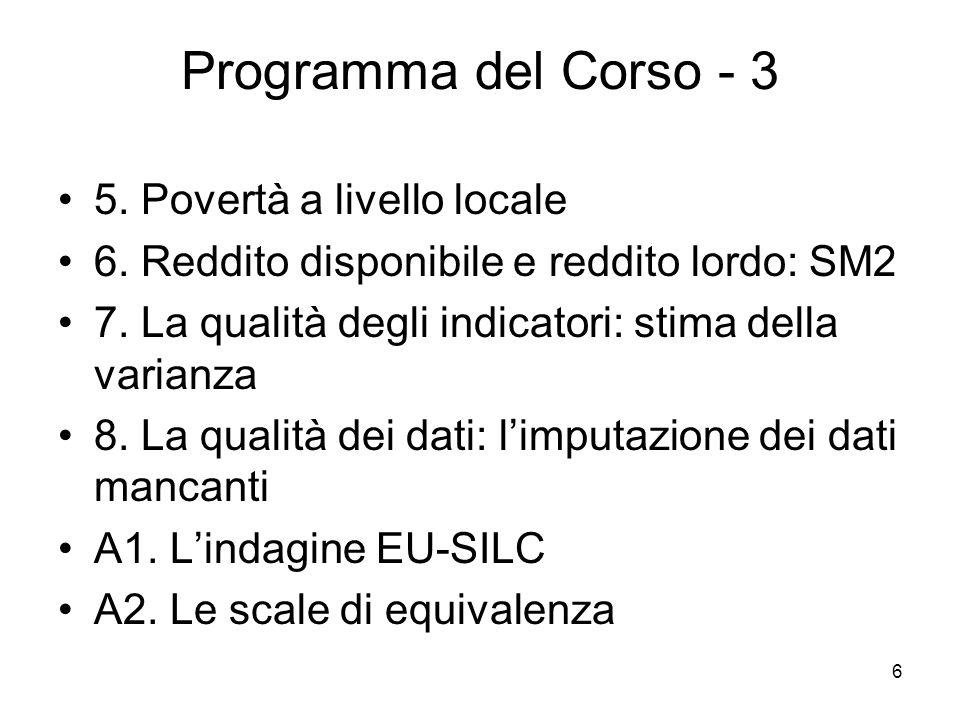 Programma del Corso - 3 5. Povertà a livello locale