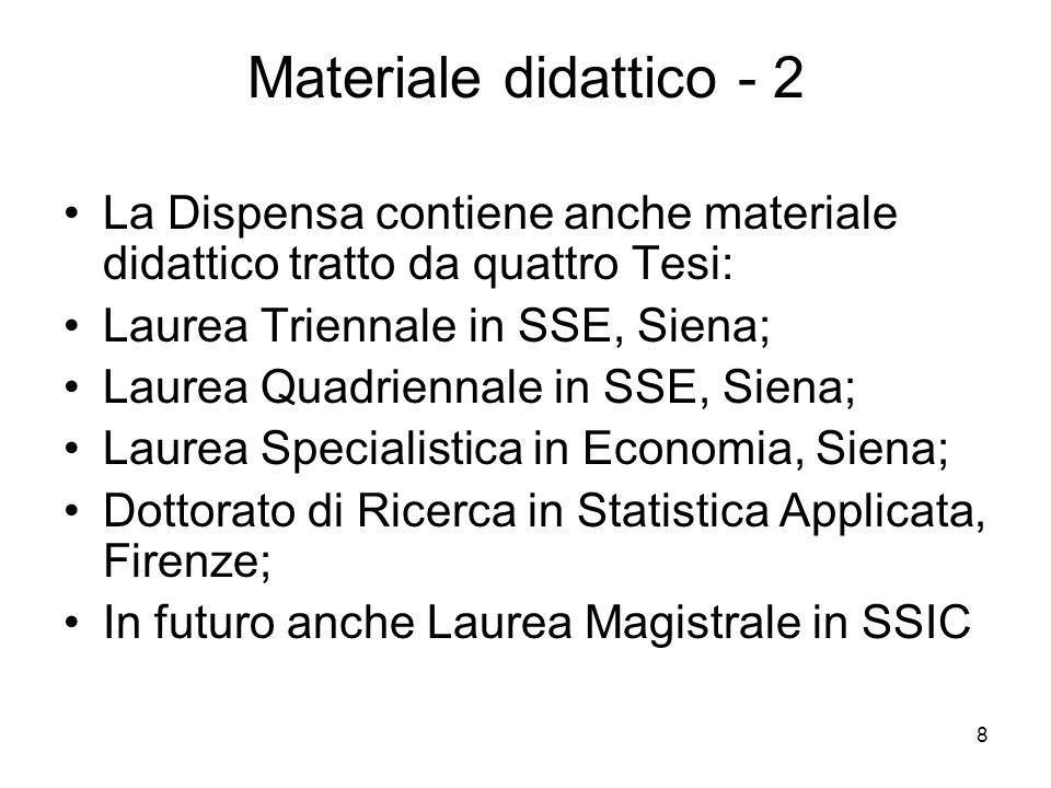 Materiale didattico - 2 La Dispensa contiene anche materiale didattico tratto da quattro Tesi: Laurea Triennale in SSE, Siena;
