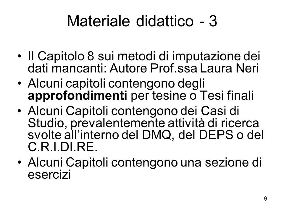 Materiale didattico - 3 Il Capitolo 8 sui metodi di imputazione dei dati mancanti: Autore Prof.ssa Laura Neri.