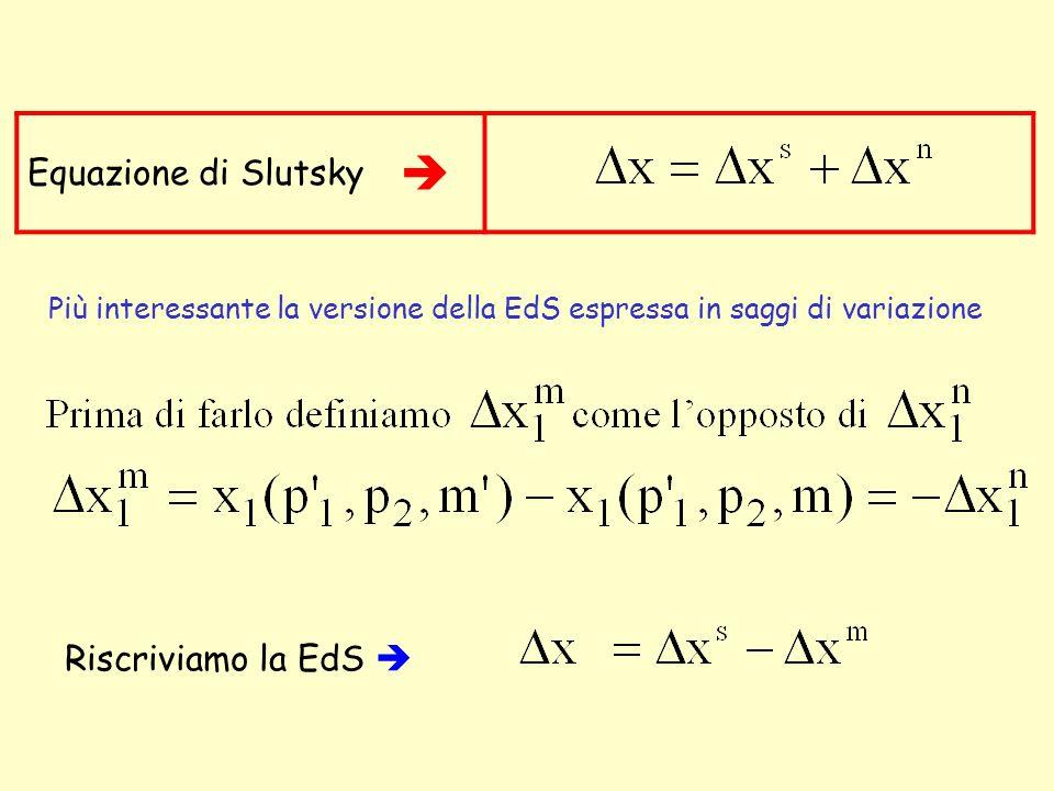  Equazione di Slutsky Riscriviamo la EdS 