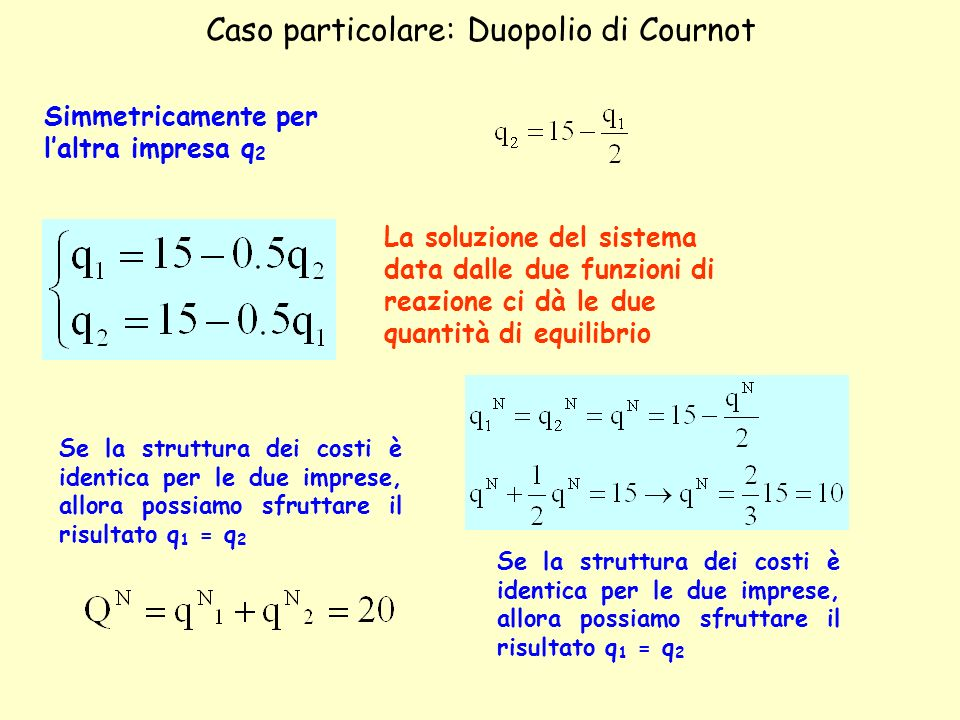 Caso particolare: Duopolio di Cournot