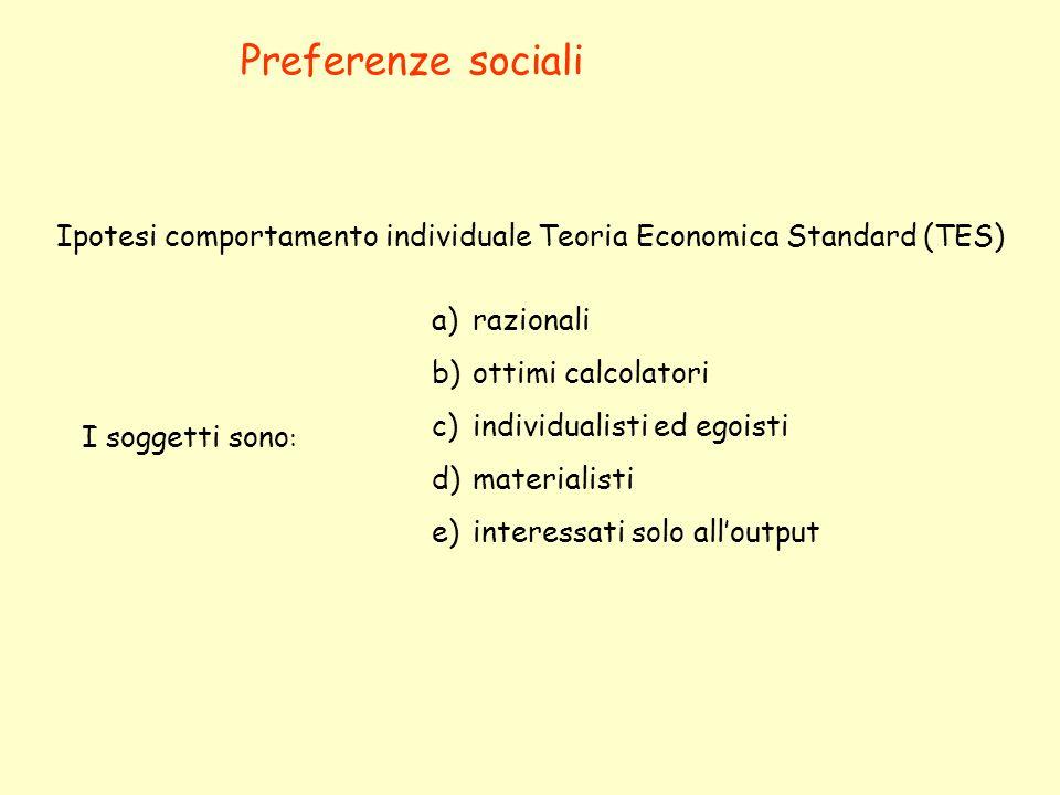 Preferenze sociali Ipotesi comportamento individuale Teoria Economica Standard (TES) razionali. ottimi calcolatori.