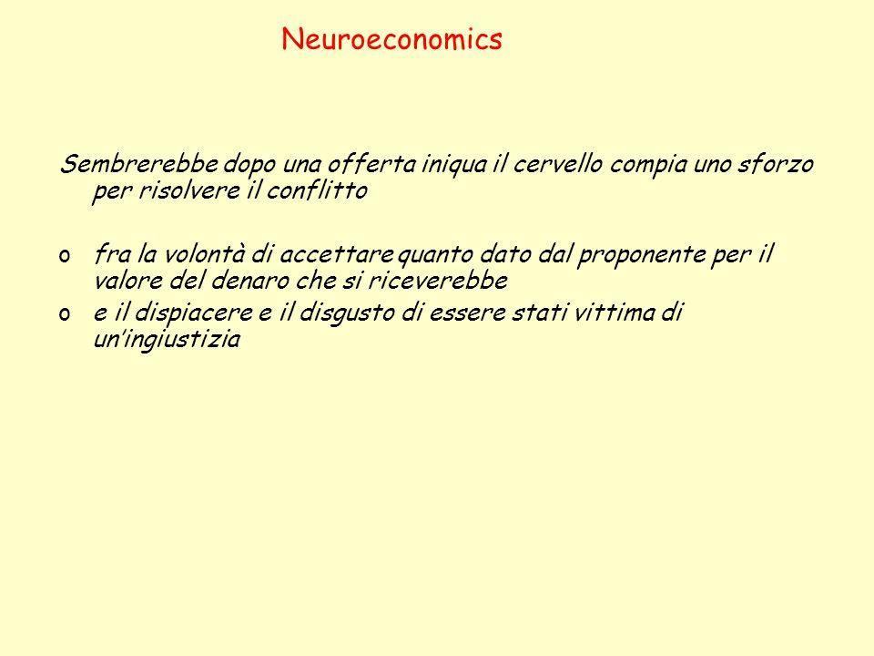 Neuroeconomics Sembrerebbe dopo una offerta iniqua il cervello compia uno sforzo per risolvere il conflitto.