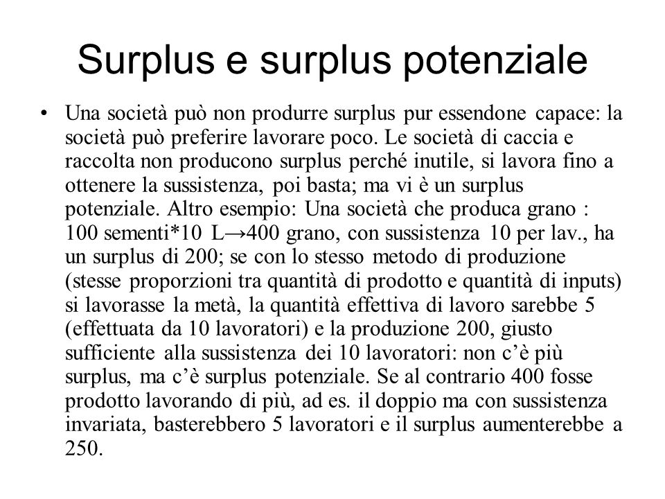 Surplus e surplus potenziale