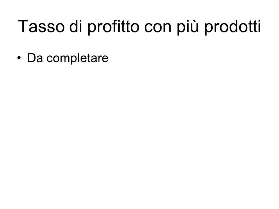 Tasso di profitto con più prodotti