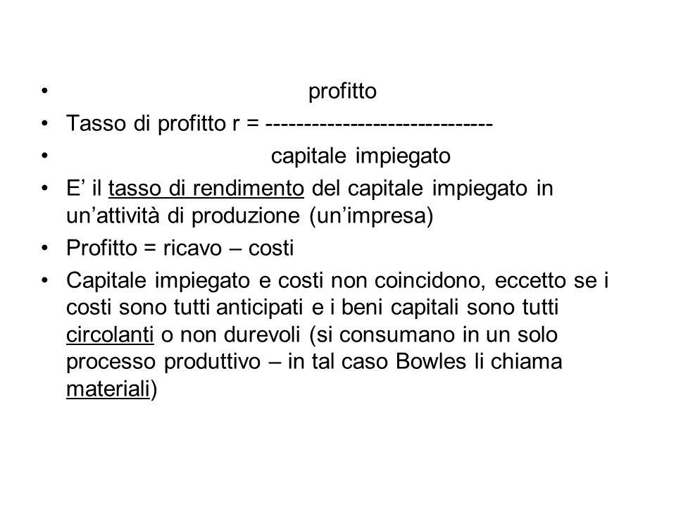 profitto Tasso di profitto r = ------------------------------ capitale impiegato.
