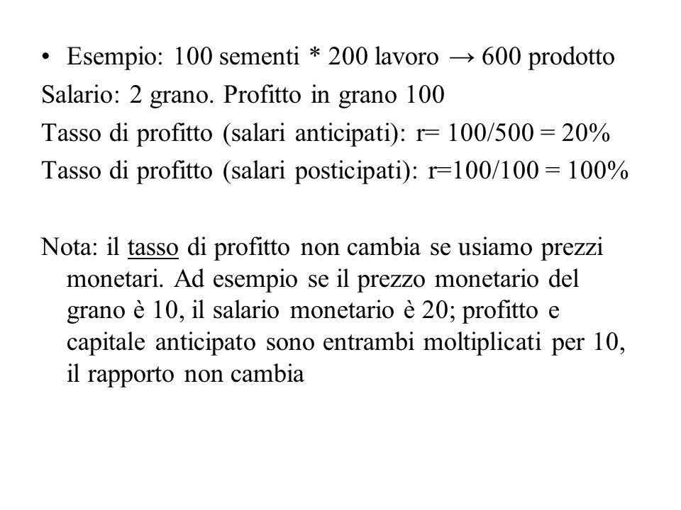 Esempio: 100 sementi * 200 lavoro → 600 prodotto