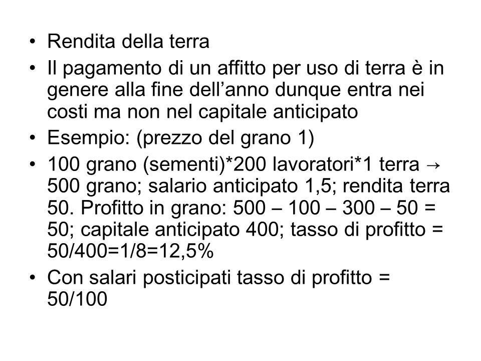 Rendita della terraIl pagamento di un affitto per uso di terra è in genere alla fine dell'anno dunque entra nei costi ma non nel capitale anticipato.