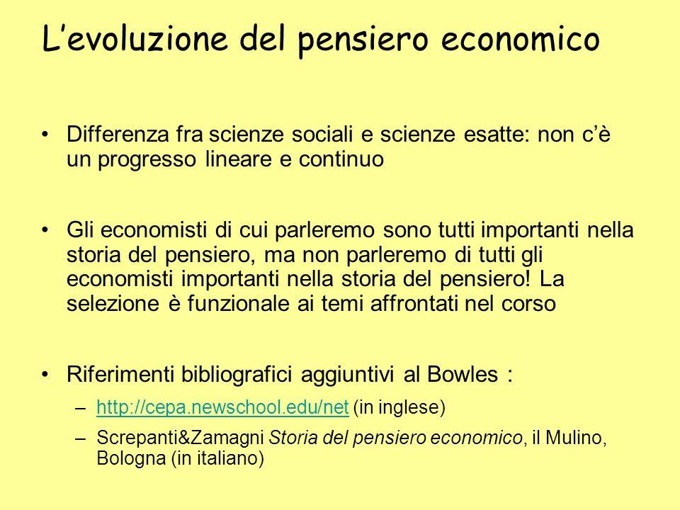 L'evoluzione del pensiero economico
