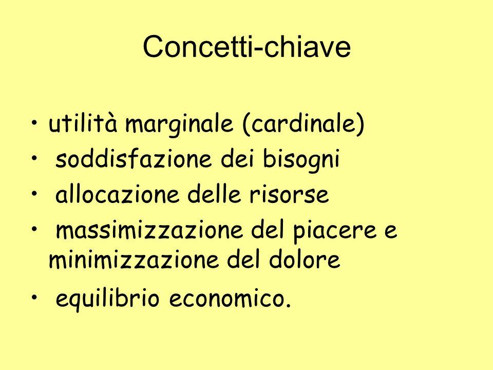 Concetti-chiave utilità marginale (cardinale)