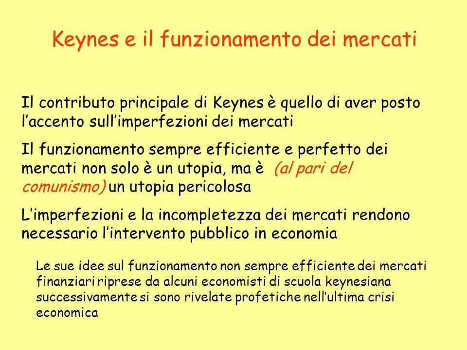 Keynes e il funzionamento dei mercati