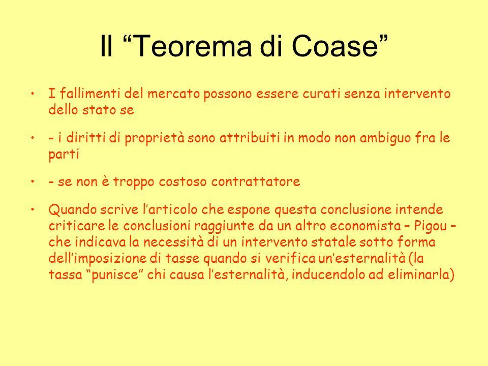 Il Teorema di Coase I fallimenti del mercato possono essere curati senza intervento dello stato se.