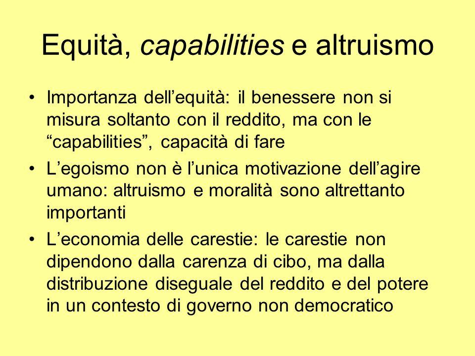 Equità, capabilities e altruismo