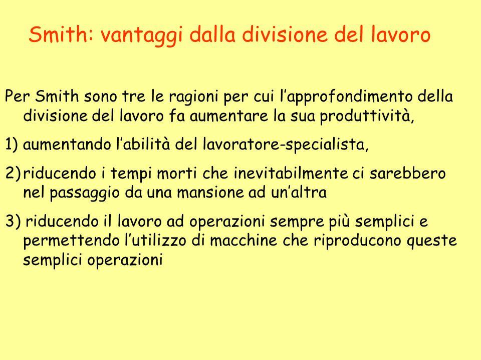 Smith: vantaggi dalla divisione del lavoro