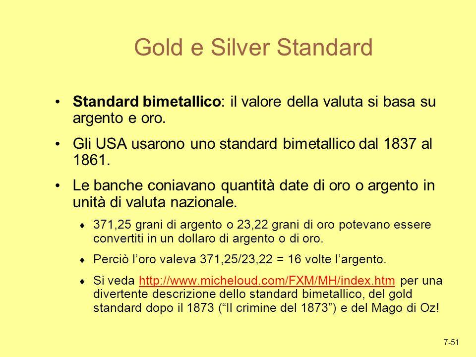 Gold e Silver StandardStandard bimetallico: il valore della valuta si basa su argento e oro.