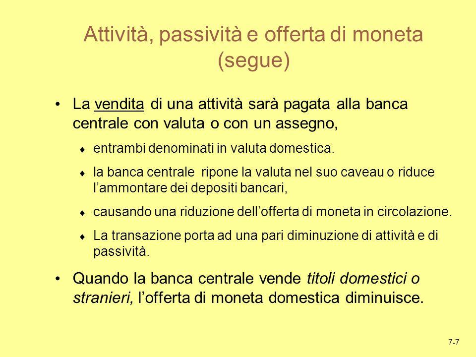 Attività, passività e offerta di moneta (segue)
