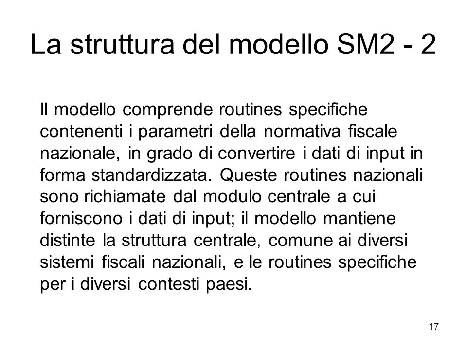 La struttura del modello SM2 - 2