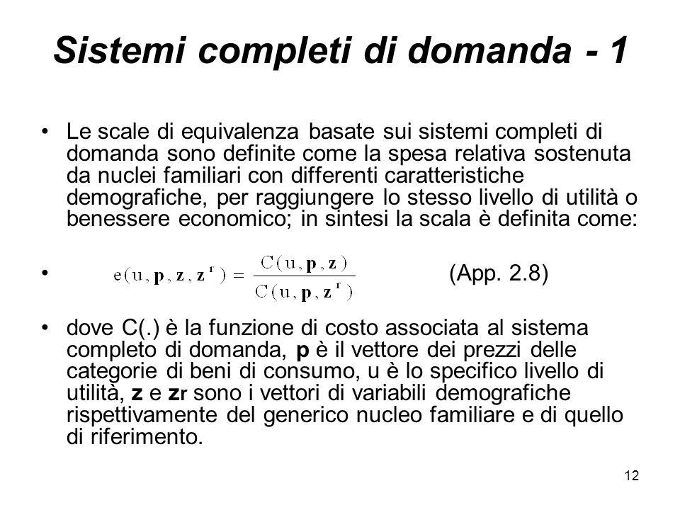 Sistemi completi di domanda - 1